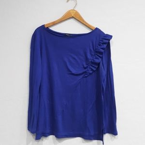 MNG by Mango Soft Royal Blue Frilly Top